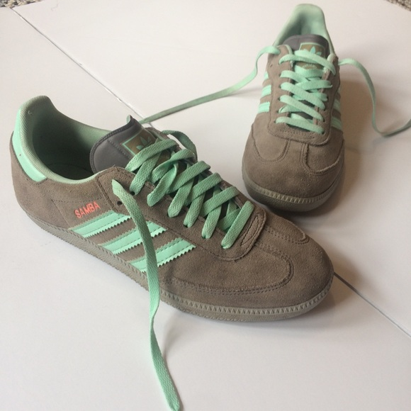 eef5aa3633e Adidas Samba Grey and Mint Green Sneakers 7.5